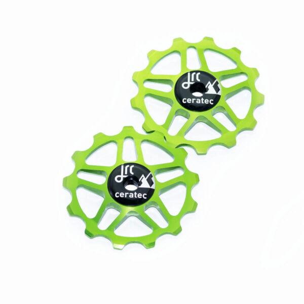 Kółka ceramiczne przerzutki JRC Components 13T do Shimano MTB 12 biegów - fluo zielone /acid green/