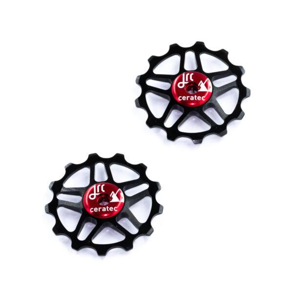 Kółka ceramiczne przerzutki JRC Components 13T do Shimano MTB 12 biegów - czarno czerwone /black red/
