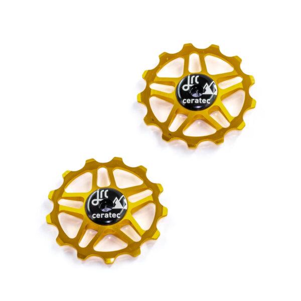 Kółka ceramiczne przerzutki JRC Components 13T do Shimano MTB 12 biegów - złote /gold/