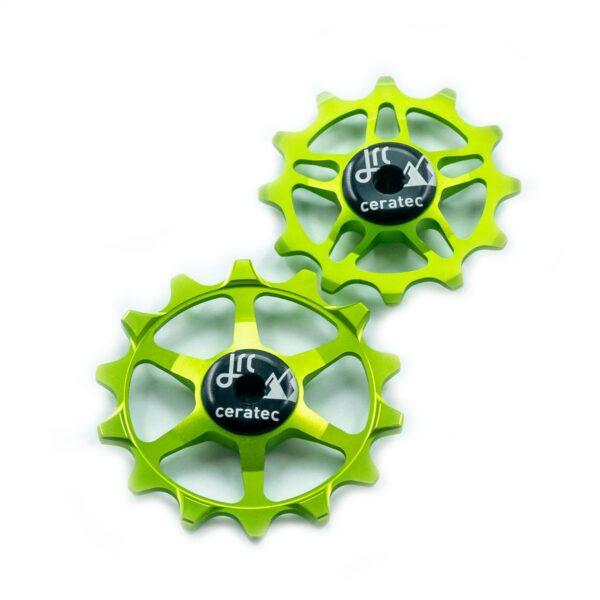 Kółka ceramiczne przerzutki JRC Components 14/12T do SRAM Eagle - fluo zielone /acid green/