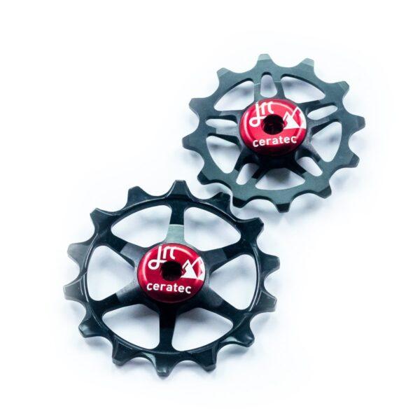 Kółka ceramiczne przerzutki JRC Components 14/12T do SRAM Eagle - czarno czerwone /black red/
