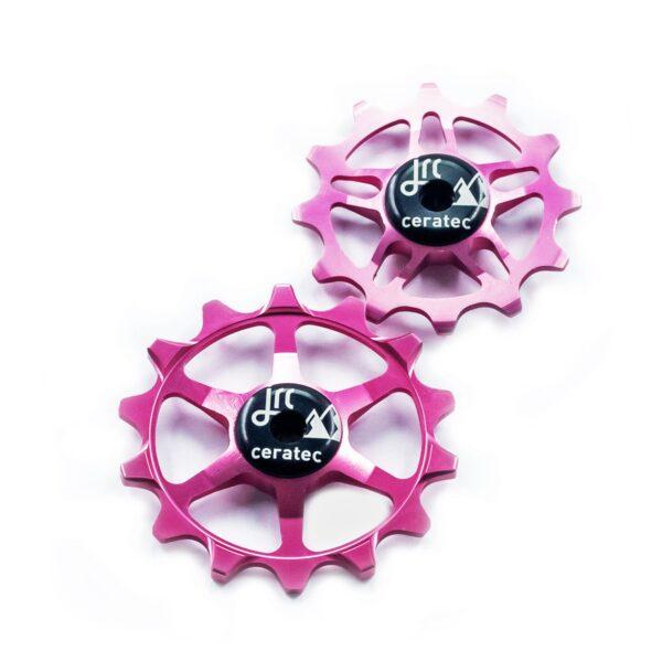 Kółka ceramiczne przerzutki JRC Components 14/12T do SRAM Eagle - różowe /pink/